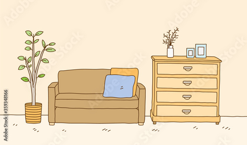 Photo Minimalist interior furniture of sofa with dressing table and interior plant