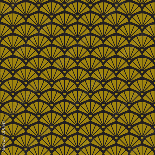 Geometric retro background with gold fans, art deco seamless gold pattern Canvas Print