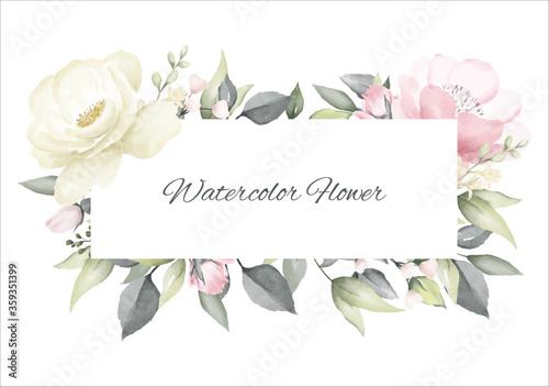 Obraz Rose flower watercolor pink and white color frame background design wedding invitation card. - fototapety do salonu