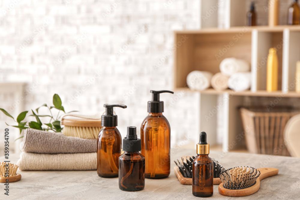 Fototapeta Set for hair treatment on table