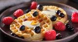 breakfast plate with waffles and berries