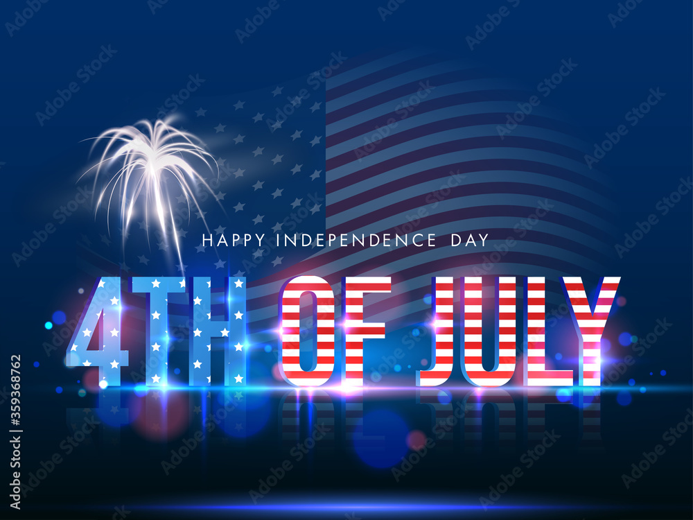Fototapeta 3D 4th Of July Text in American Flag Color with Firework on Shiny Blue Background for Happy Independence Day Concept.