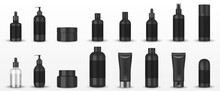 Realistic Blank Black Cosmetic Tubes Isolated. Mockup Cosmetic Containers Hand Cream, Shampoo, Liquid Soap Pump, Spray, Oil, Gel, Lotion Bottle. Vector