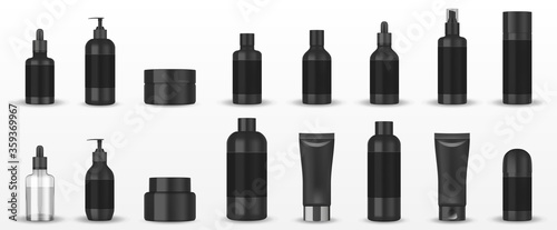 Realistic blank black cosmetic tubes isolated Canvas Print