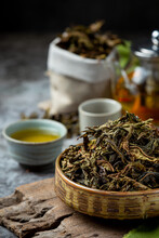 Oolong Green Tea In A Teapot A...