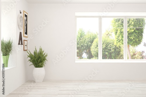 White empty room with summer landscape in window Fotobehang