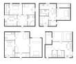 Architectural Plan Sign Contour Linear Icon Set. Vector