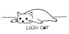 Lazy Cat. Sketch Of The Cartoon Cat Isolated On White Background