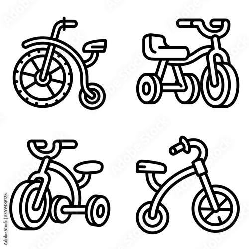 Photo Tricycle icons set