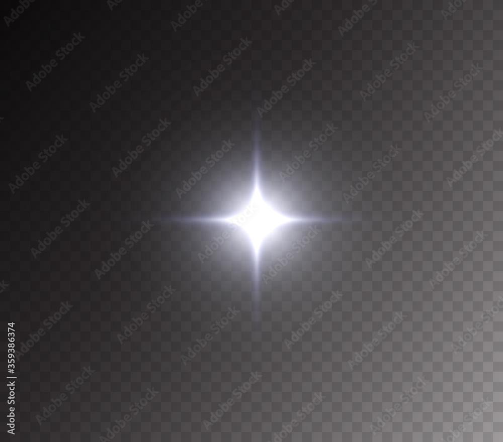 Fototapeta Camera flash light effect isolated on transparent background. White flashlignt, flare, projector rays or spotlight. Vector glow car headlight template - obraz na płótnie