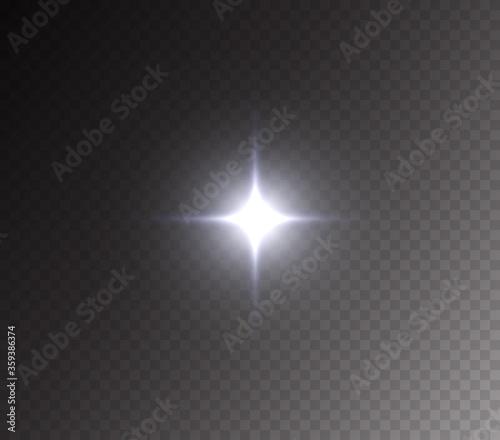 Fototapeta Camera flash light effect isolated on transparent background. White flashlignt, flare, projector rays or spotlight. Vector glow car headlight template obraz na płótnie