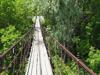 Panel Szklany Industrialny suspended wooden bridge over the river in the forest