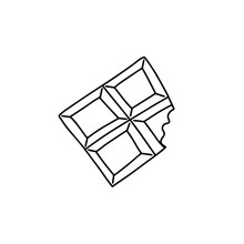 Bitten Piece Of Chocolate, Outline, Doodle, Black And White Illustration. Vector Stock Illustration.