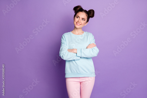 Minded smart girl youth worker cross hands look copyspace think thoughts decide work decisions choose choice wear casual style blue pink clothes isolated violet color background