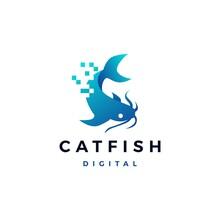 Cat Fish Digital Pixel Logo Ve...