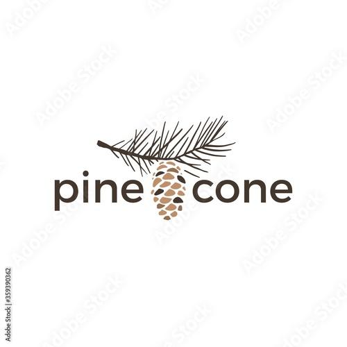 Obraz na plátně pine cone vintage retro logo vector icon illustration