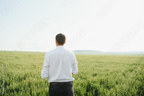 Agronomist farmer is inspecting ripening ears of wheat in field in warm summer sunset Canvas Print