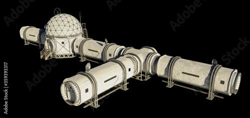 Canvastavla research base, habitat for astronauts on Mars or Moon isolated on black backgrou