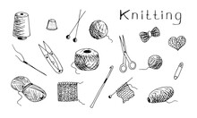 Hand-drawn Vector Set Of Black...