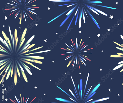 Seamless pattern with fireworks in the night sky Fototapet