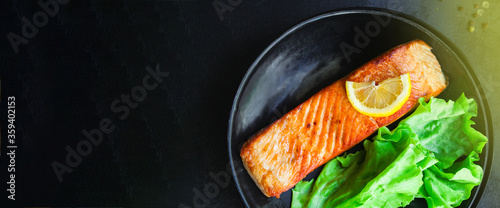 Fototapeta salmon barbecue grill fried Menu concept serving size. food background top view copy space for text keto or paleo pescatarian diet organic  obraz