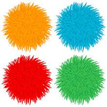 Colorful Pom Poms Vector Carto...
