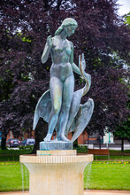 Leda With Swan And Park Promenade, Spa Town Podebrady, Central Bohemia, Czech Republic