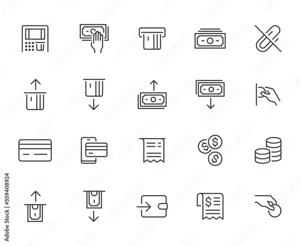 Fototapeta Atm machine line icon set. Withdraw money, deposit, hand taking cash, receipt minimal vector illustration. Simple outline signs for payment terminal application. Pixel Perfect. Editable Strokes