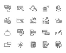 Money Loan Line Icon Set. Cred...