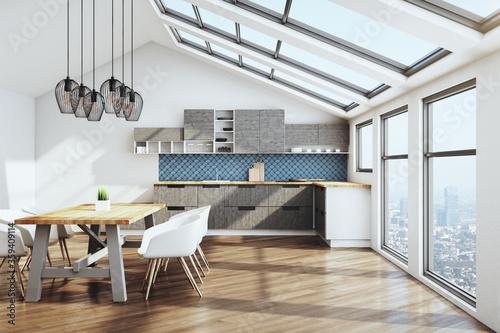 Foto Minimalistic kitchen studio interor and city view.