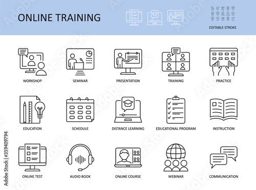 Slika na platnu Online training vector icons