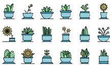 Houseplants Icons Set. Outline...