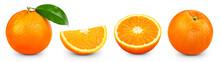 Orange Clipping Path. Ripe Whole Orange Fruit With Green Leaf And Slice Isolated On White Background With Clipping Path. Orange Fruit Set Macro Studio Photo