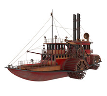 Paddle Steamer Isolated