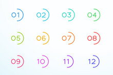 Number Bullet Point Round Outline Set 1 To 12