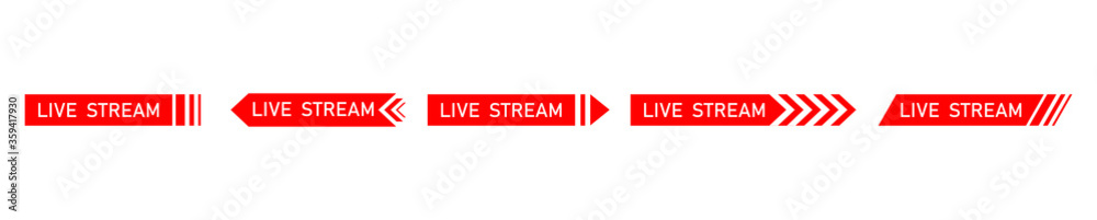Fototapeta Live streaming icon. Red symbol and buttons of live streaming, broadcasting, online stream. Template for tv, shows, movies and live performances. Vector