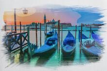 Swinging Gondolas In Venice At...