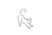 One Line Cat Design Silhouette...