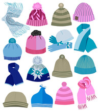 Collection Of Fashion Caps (vector Illustration).