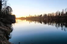 Sunrise Over Lake, Photo As A ...