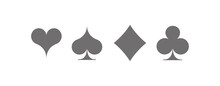 Set Diamonds, Clovers, Hearts, Spades Playing Card Suits Icons Template Gray Editable. High Quality Shape Playing Card Suit Symbol Pictogram For Web Design Or Mobile App Isolated On White Background