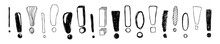 Horizontal Banner. Set Of Hand Drawn Sketch Exclamation Marks. Vector Illustration