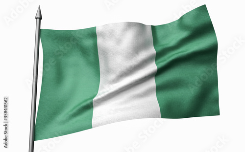 3D Illustration of Flagpole with Nigeria Flag Slika na platnu