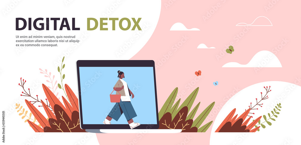Fototapeta woman coming out of laptop screen digital detox concept girl spending time without gadgets abandoning internet and social networks full length horizontal copy space vector illustration