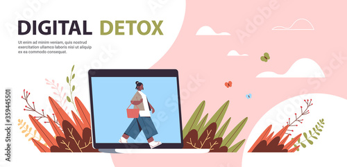 woman coming out of laptop screen digital detox concept girl spending time without gadgets abandoning internet and social networks full length horizontal copy space vector illustration