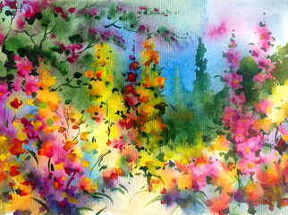 Fototapeta Romantyczny Watercolor colorful bright textured abstract background handmade . Mediterranean landscape . Painting of vegetation of the sea coast , idyll garden , made in the technique of watercolors from nature