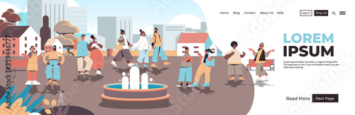 mix race people walking urban park no cellphone zone digital detox concept smartphone in prohibition sign abandoning internet social networks cityscape copy space horizontal vector illustration