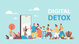 people coming out of cellphone screen vacatin adventure digital detox concept abandoning internet and social networks horizontal full length vector illustration