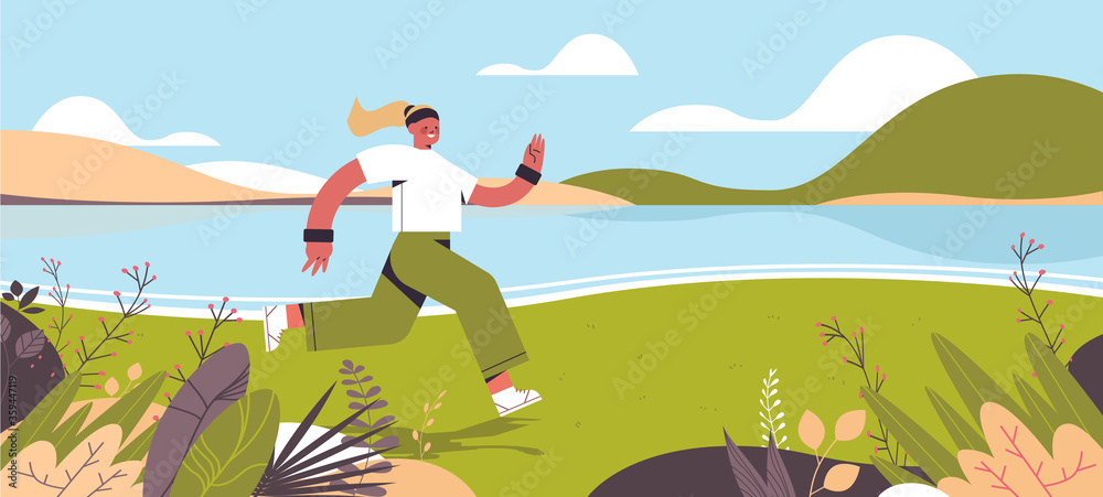 Fototapeta sportswoman running outdoor girl spending time without gadgets digital detox healthy lifestyle concept abandoning internet and social networks landscape background horizontal full length vector