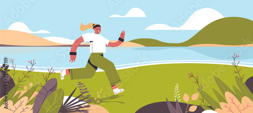 Fototapeta sportswoman running outdoor girl spending time without gadgets digital detox healthy lifestyle concept abandoning internet and social networks landscape background horizontal full length vector obraz